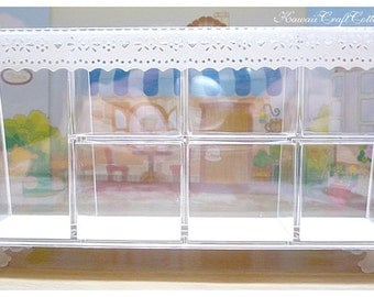 Dollhouse Miniature Cabinet Display Rack Counter Acrylic Showcase Dolls house Miniatures Decoration Show Case, 1:12 One Inch Scale, Diorama