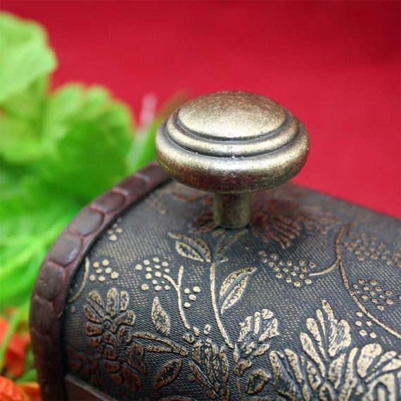 Vintage round knobs head metal single hole drawer for Antique bureau knobs