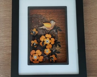 Shadow box Bird and flowers