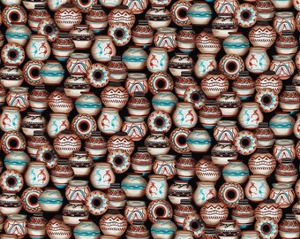 Clay Jars Kokopelli Cotton Fabric Sold by the Yard