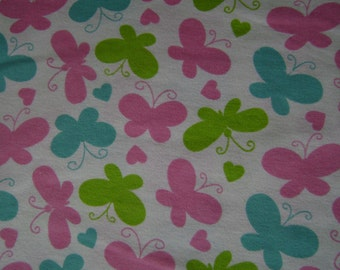 Spring Butterflies Flannel Fabric by the yard