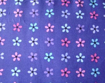 Small Daisy Dark Purple Cotton Fabric by the yard