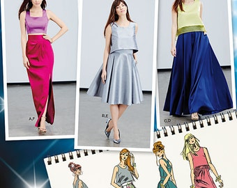 Simplicity Pattern 1099 Misses' Full Skirts, Slim Skirt and Tops