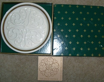 REDUCED: Vintage Lenox Ivory and Gold Wine Bottle Coaster Plate – Seville Pattern- Original Box