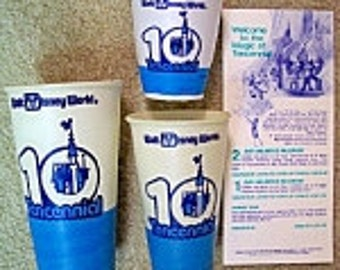 Vintage Walt Disney World TENCENNIAL Paper Cups and Brochure 1981