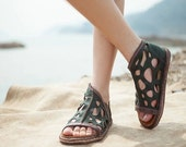 Top cowhide Handmade women shoes,Green Leather sandals, sandals Shoes,  Flat Shoes,Summer Shoes,leather shoes,Free shipping