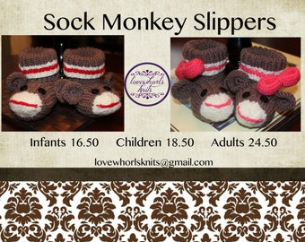 Child's Sock Monkey Slippers