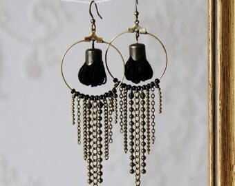 YUSIHTI - black - Bronze - Creole earring