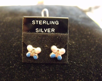 Small Pink and Blue Butterfly Sterling Silver Earrings
