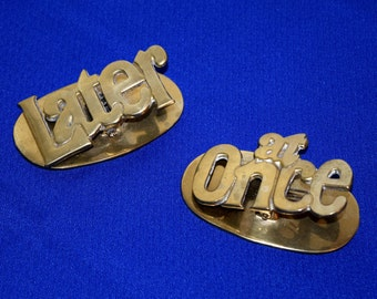 Vintage 1970s Tandy Brass Clip Note Holders