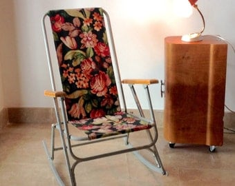 RARE Vintage Childu0027s Lawn Rocking Chair; Childrenu0027s Chair; Kids Aluminium  Folding Chair With Flower