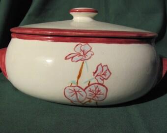 Flowered Oval Casserole Dish