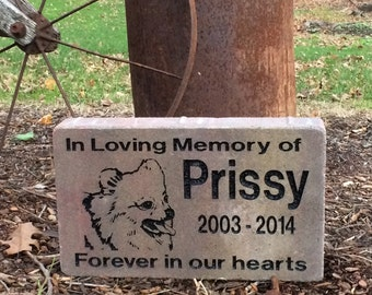 Pet Memorial Marker. Personalize your Stone he way you want with specific dog breed images. Heavy Duty Gravestone