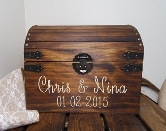 Rustic Wooden Chest Wedding Card Box, Wedding Card Placement Box, Wedding Card Chest, Large Keepsake Box, Card Box, Chest Wedding Box