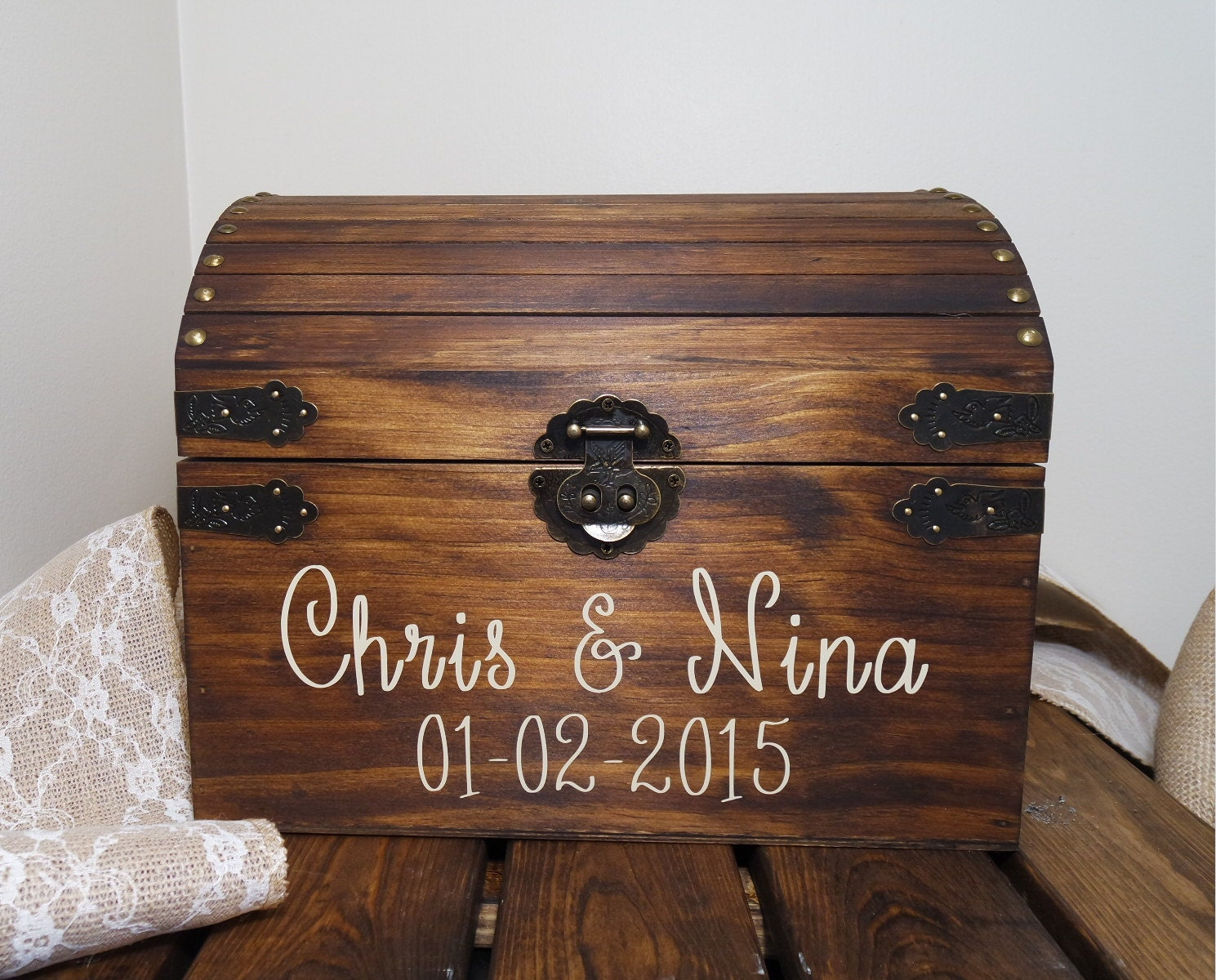 Wooden Wedding Gift Card Box : Rustic Wooden Chest Wedding Card Box Wedding by CraftyWitchesDecor