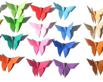 Origami Butterfly (50) Solid Color Mix , Rainbow Color Paper Butterfly Party Decoration