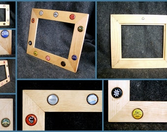 Picture frame beer bottle cap etsy for Beer bottle picture frame