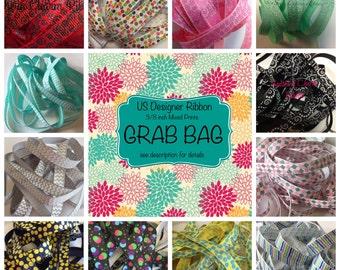 US Designer Ribbon Grab Bag, Random Print Grosgrain Ribbon, 3/8 inch ribbon by the yard, us designed high quality ribbon, pink red blue grey