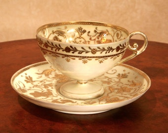 Antique White/Yellow with Gold Cup and Saucer