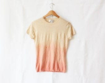 LAST CHANCE > Peach Ombre Cashmere Short Sleeve Shirt (Small Hole in front) Size Small/Medium