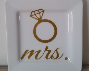 Mrs Ring Dish with Engagement Ring