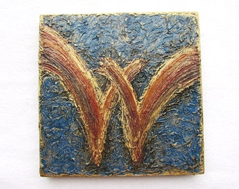 "Personalized Letter ""W"" on Wood Block--Original Handpainted--Monogram--Initial--Letter Art--Modern Textured--Wall Art Decor."