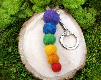 Needle Felted Rainbow Bead Keychain