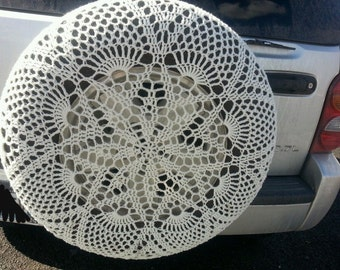 Custom Crochet Spare Tire Cover~~Handmade Lace Jeep SUV