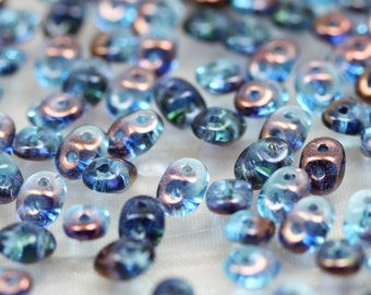 20grams 5x2mm Aqua Semi Bronze Luster  - 2-hole SuperDuo Czech Glass Beads