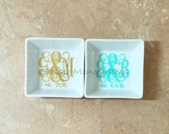 Couples Monogrammed Jewelry Dish - Monogrammed Ring Dish - Jewelry Holder - Ring Bowl - Bridal Gift
