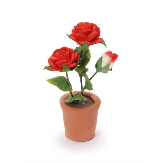 Miniature Red Roses Potted Plant Dollhouse Supply