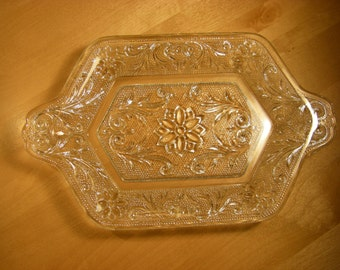 Indiana Glass 'Sandwich - Clear' Cream and Sugar Tray with Two Handles