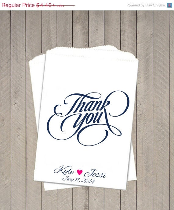 Thank you wedding favor bags personalized treat by for Sideboard x7