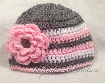 Crochet Hat for Baby Girl, Crochet Hat, Crochet Grey and Pink Hat with Flower