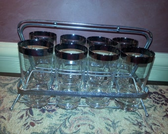 Vintage Sterling Silver Rim Dorthy Thorpe Set of EIGHT Glasses with Silver Carrier!