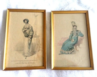 Antique Ladies Fashion Engraving, La Belle Assemblee Tinted Engraving