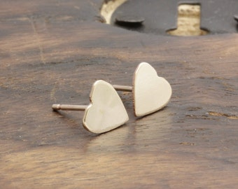 14 k gold filled smooth heart stud earrings, bridesmaid earrings, gift for her, wedding gift (R_00011)