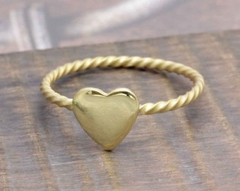 925 vermeil gold tiny flat heart twisted band ring (R_00011)