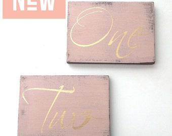 Blush table number, wedding table numbers, wood table numbers, gold table numbers