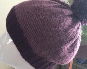 Purple alpaca Pom Pom hat.Hand knit hat.