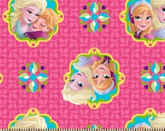 Elsa and Anna Framed Sisters on Pink 1 Yard Cotton Woven