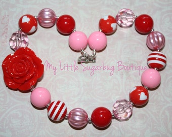 Sweetheart Chunky Necklace-Valentines-Bubblegum Necklace-Baby-Toddler-Girls-Women