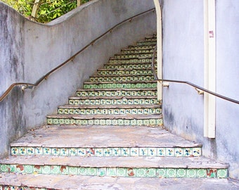 Tiled Staircase, Architecture Photograph, Historic Architecture, Architecture Wall Art, Fine Art Wall Decor, US Photography,Gift for Her Him