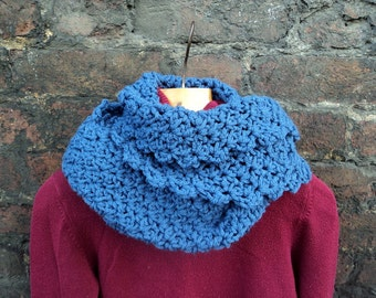 Blue Hand Crocheted Infinity Scarf