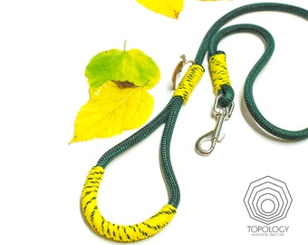 Climbing Rope dog leash - Sporty Forest Green climbing rope in combination with bright yellow paracord