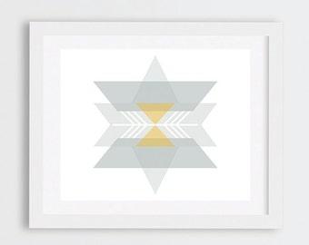 Southwestern Art Print, Modern Abstract Art Print, Nordic Art, Geometric Art, Neutral Wall Art, Grey Mustard and White Wall Art