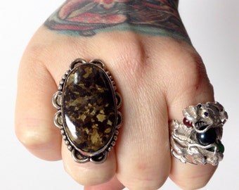 Bronzite + Sterling Silver .925 huge Statement ring 8