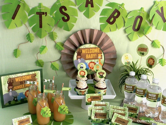 Jungle safari theme baby shower printable party package for Baby shower safari decoration