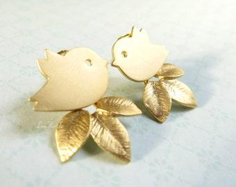 Gold Bird Earrings Bird Leaf Earrings Sparrow Leaves Dangles Bird Post Earrings