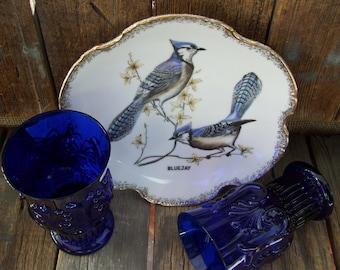 Vintage Blue Jays Collectors Plate Birds Gold Scalloped